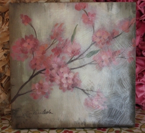 "12""x12"" Canvas Wall Art $49.00 Cheery cherry blossoms bring softness and color to the walls."