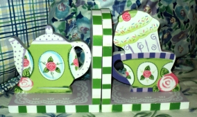 Tea Party Bookends $39.50 Even your books look like you hired a designer.