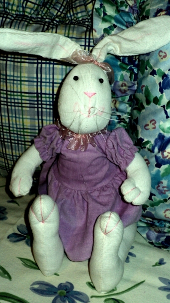 Blue Posie Bunny Friend $29.50 Dressed in purple for this room occasion.