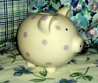 Purple Polka Dot Piggy Bank $19.50 Accenting Blue Pose & Plaid, so cute.