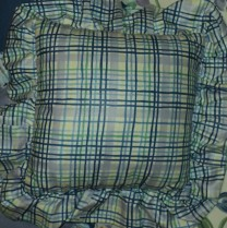"Blue 14""x14"" Plaid Pillow $24.50 Color is so fun with this plaid."
