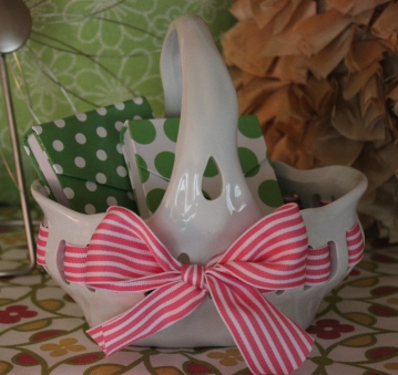"7""x7"" Ceramic Bow Basket $14.50 Adorable for sweet treasures"