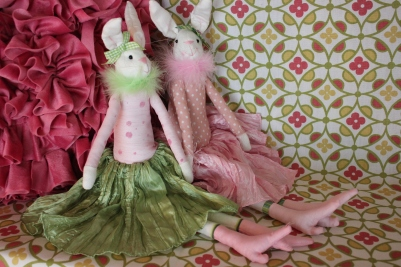 Chic Bunny Friend $29.50 This chic bunny will bring some cheer to any bed or shelf. Pink or green skirt.