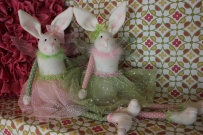 Fairy Bunny Friend $29.50 This sweet bunny will sweeten up a bed or shelf. Pink or green skirt.