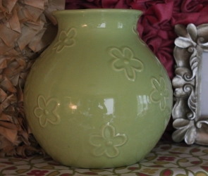 "8""H Light Green Flower Vase $8.00 This adorable vase has been Loved Before, and you will love it too for a pop of color and shine!"