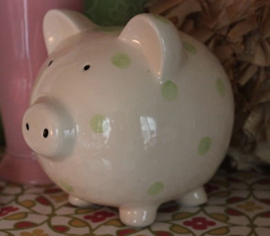 "7""H Green Polka Dot Piggy Bank $19.50 Sweet saving!"