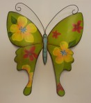 "13""High Green Metal Wall Butterfly