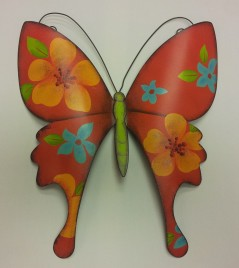 "13""High Red Metal Wall Butterfly"