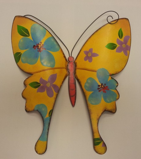 "13""High Yellow Metal Wall Butterfly"