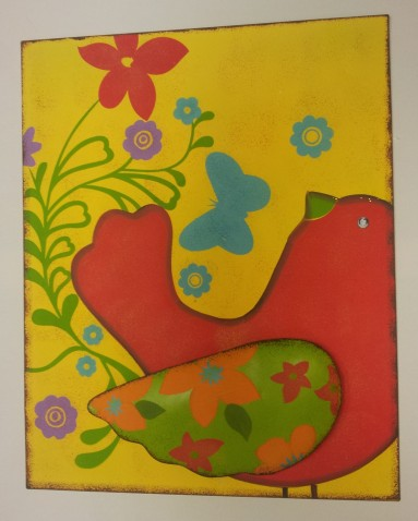 "15""x20"" Red Bird Medal Wall Art $39.00"