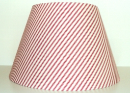 "9 1/2""Hx14""W Red Striped Shade $39.00 No Harp Attachment"