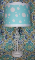 Blue Polka Dot Lamp, Kids Room Girls Room