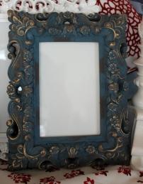 "5""x7"" Blue Ornate Frame $39.00 Pretty denim and gold frame"