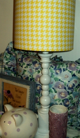 """27""""H Gingham Yellow Spindle Lamp $279.00 Accented with cute decor available to purchase"""