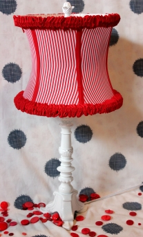 "22"" Red Ruffled Stripe Lamp $198.00 This light will light up your room with fun!"