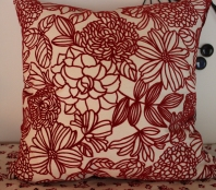 "18"" Square Red & White Floral Pillow $89.00 Add some bright red to your child's room!"