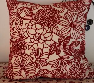 """18"""" Square Red & White Floral Pillow $89.00 Add some bright red to your child's room!"""